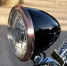 "Black 5-3/4"" Bullet Headlight, Antique Copper Finished Trim Ring"