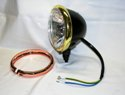 "4-1/2"" Black Mini Headlight with Brass & Copper Trim Rings"