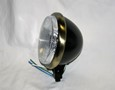 "Satin Black 5-3/4"" Halogen Headlight with Ant. Brass Plated Ring"