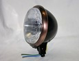"Satin Black 5-3/4"" Halogen Headlight with Ant. Copper Trim Ring"