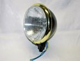 "Satin Black 5-3/4"" Halogen Headlight with Brass Plated Trim Ring"